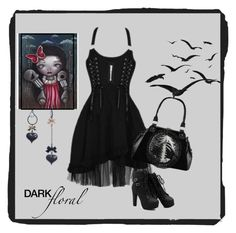 """Dark floral"" by jessicarabbit59 ❤ liked on Polyvore featuring moda y Betsey Johnson"