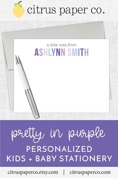 Personalized stationery, just for kids!  Each set of flat note cards is printed on high-quality white cardstock, includes your choice of envelopes, and is packaged in a crystal clear box.  Perfect for casual correspondence or thank you notes, these note cards make the perfect gift!  \\ girls stationery \\ kids stationery \\ lavender \\ personalized \\ purple Personalized Stationary, Stationary Set, Kids Stationery, Custom Stationery, Thank You Notes, Thank You Cards, Kids Notes, Papers Co, Note Cards
