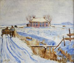 Jan Altink - Winterlandschap, oil on linen, 57 x 65 cm Art Eras, Snow Art, Dutch Painters, Dutch Artists, Artist Painting, Impressionist, Contemporary Art, Holland, Fine Art