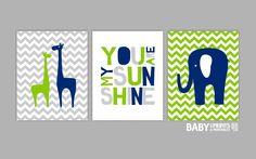 Navy Lime green Grey Nursery art prints Set of 3 by babyartprints, $51.00