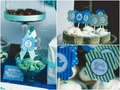 blue and green dessert table party 2  Meet the little prince baby shower!