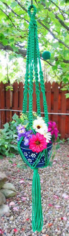 """Macrame plant hanger, KELLY GREEN, 45"""", large, green plant hanger, hanging planter, plant holder, pot holder, green hanging basket, Irish"""