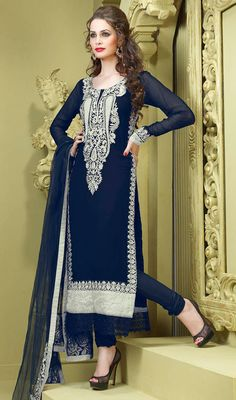 Pakistani Style Salwar Kameez In Navy Blue