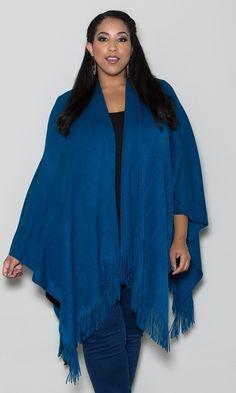 Curvalicious Clothes :: Plus Size Tops :: Knit Fringe Poncho - Teal Plus Size Shirts, Plus Size Blouses, Plus Size Tops, Plus Size Dresses, Plus Size Outfits, Plus Size Womens Clothing, Plus Size Fashion, Clothes For Women, Size Clothing