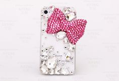 Handmade Hard Crystal Bow Cell Phone Case by AlonmyCrystalCrafts