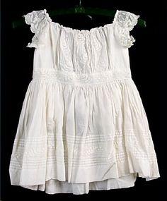 Dress, girl's, white cotton lawn, white-work embroidery, 1864-1865