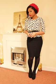 belted slouchy sweater over pencil skirt; meek~n~mild: I Crave Paris
