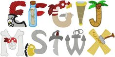 Commercial Embroidery Machine, Machine Embroidery Designs, Baby Room Letters, Line Design, Sewing Tutorials, Pirates, Alphabet, Applique, Quilts