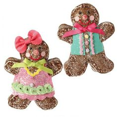 """RAZ Gingerbread Boy and Girl Set of 2 Chocolate Moose Collection  2 Asst Multicolored Made of Polyester Measures 6.5"""" X 5""""  RAZ Christmas Moose 2013 Collection"""