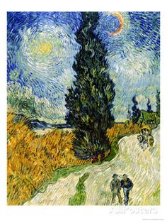 Road with Cypresses, c.1890  By: Vincent Van Gogh This piece of art reminds me of the element of art space. The people are in the foreground, the tree is in the middle-ground and the sky is the background.