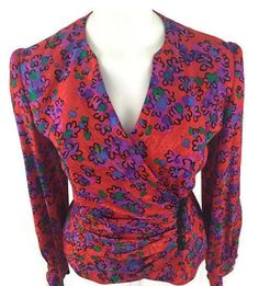 35.63$  Watch here - http://vilcb.justgood.pw/vig/item.php?t=zyka22i30208 - Raul Blanco VTG 80's Vivid Abstract Bright Floral Print Silk Blouse Top Size 8