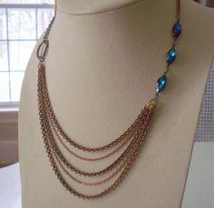 Chain Bib Necklace With Austrian Bermuda Blue Crystals - Vintage Oxidized Brass Chain And Vintage Austrian Crystals