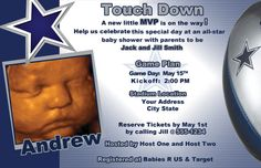 Dallas Cowboys Football Baby Shower/Birthday by LeslisDesigns, $19.99