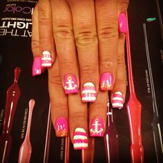 Hot pink nautical nail art design THE MOST POPULAR NAILS AND POLISH #nails #polish #Manicure #stylish