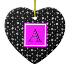 Cute Heart Shaped Ornament, Black & White Polka Dot Snowflakes with Hot Pink, add your Initial on the Pink & White Label #Christmas #ornament #heart #monogram #snowflakes