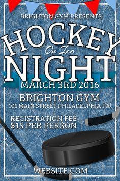 hockey tournament registration poster template