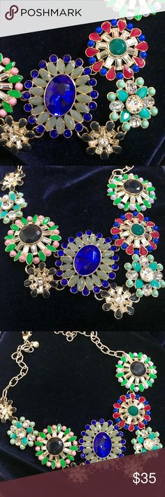 JCREW STATEMENT BIB NECKLACE STUD DESIGN JCREW STATEMENT BIB NECKLACE STUD DESIGN  Eye catching statement necklace from J.Crew. Pop colors to accentuate your look.   Length 11 in  Width 7 in J. Crew Jewelry Necklaces