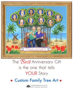 The best anniversary gift is the one that tells YOUR story. Custom family tree art gift illustrates your life, love, and family story and preserves your family history for future generations. Family tree paintings make the best wedding anniversary gifts for parents, grandparents, in-laws. #familytree #giftsforparents #anniversary #giftideainlaws #unique #familyportrait #watercolorportrait #customgifts #personalizedgifts #customizedfamilytree #grandparentgiftideas #creativegifts… Anniversary Gifts For Parents, 50th Wedding Anniversary, Meaningful Gifts, Memorable Gifts, Family Tree Art, Tree Paintings, Tree Illustration, Grandparent Gifts, On Your Wedding Day