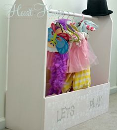 DIY Play Clothes Storage. This entire playroom is adorable!!!!! So many ideas I want to use!