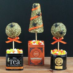 Tea Tin Topiaries = Cute for Halloween, Thanksgiving or Christmas with variations in materials and colors used.