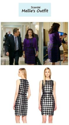 "On the blog: Mellie Grant's (Bellamy Young) purple houndstooth sheath dress | Scandal - ""The Fluffer"" (Ep. 316) #tvstyle #tvfashion #outfits #fashion #flotus"