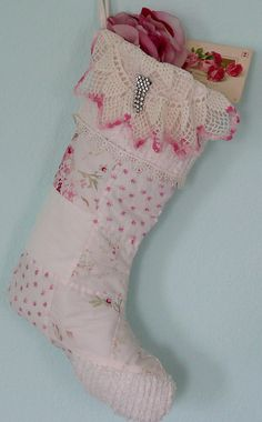 Shabby Chic Christmas Stocking I wanna make this for my daughters first Christmas