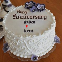 Anniversary Buttercream Fondant Flowers Cake With Name