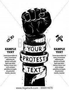 poster of Raised Fist Held In Protest. Vector Illustration