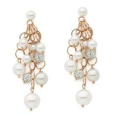 Orecchini multifilo argento rosato perle strass