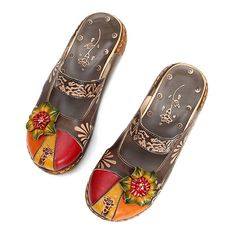 fd125f502566 Socofy SOCOFY Vintage Colorful Leather Hollow Out Backless Flower Shoes is  cheap and comfortable. There are other cheap women flats and loafers online.
