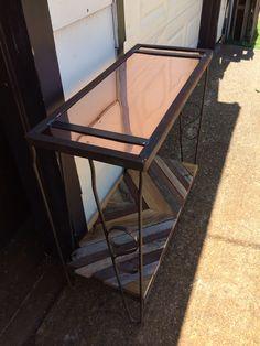 Copper top, chevron reclaimed wood bottom, steel sofa table BAR BUILD DALLAS
