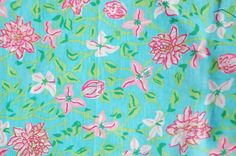 "Lilly Pulitzer's ""Pink Blue Floral"" print. Picture Yourself in Paradise at www.floridanest.com"