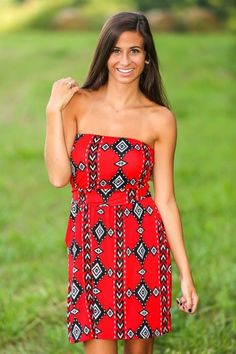 Show Your Spirit Dress-Red/Black