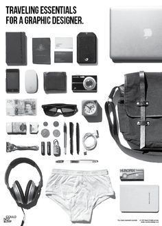 Could Not Sleep Promo Mailer  'Traveling Essentials of a Graphic Designer'. See more images here.