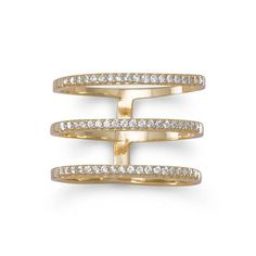 18 Karat Gold Or Rhodium Plated Triple Row CZ Rings