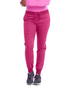 The Med Couture Touch Jenny Yoga Waist Jogger Scrub Pants are made with stretch fabric. Jogger Pants, Joggers, Sweatpants, Scrub Pants, Stretch Fabric, Scrubs, Yoga, Couture