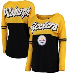 5th   Ocean by New Era Pittsburgh Steelers Women s Gold Black Athletic  Varsity Long Sleeve T-Shirt 3a4402b71