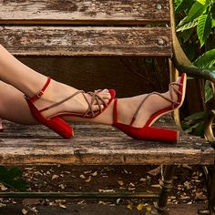 Upgrade your style in red multistrap high heeled sandals! Heeled Sandals, Heels, Retro Summer, Studs, Campaign, Loafers, Platform, Pumps, Boots