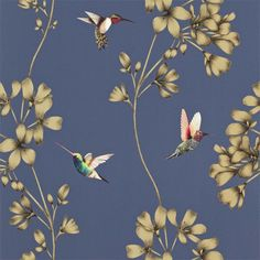 Buy Amazilia in Indigo, a feature wallpaper from Harlequin, featured in the Amazilia collection from Fashion Wallpaper. Wallpaper Stores, Print Wallpaper, Home Wallpaper, Bird Wallpaper Bedroom, Harlequin Wallpaper, Bleu Indigo, Boutique Deco, Feature Wallpaper, Fashion Wallpaper