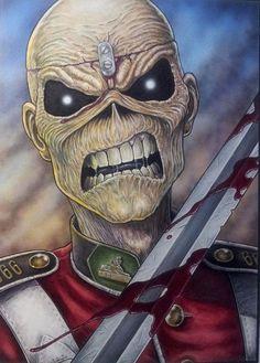 Done in Ink and Transparent acrylics on Strathmore 500 series illustration board. Heavy Metal Rock, Heavy Metal Bands, Iron Maiden Mascot, Iron Maiden Posters, Eddie The Head, Skull Artwork, Tribute, Desenho Tattoo, Thrash Metal