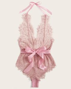 Shop Floral Lace Halter Teddy Bodysuit at ROMWE, discover more fashion styles online. Pink Lingerie, Teddy Lingerie, Pretty Lingerie, Luxury Lingerie, Beautiful Lingerie, Lingerie Sleepwear, Women Lingerie, Lingerie Dress, Sexy Mermaid Costume