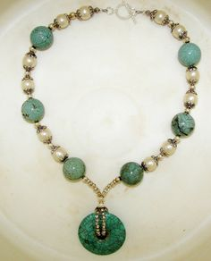 Necklace with large round tourquoise howlite by CJsVintageCowgirl, $50.00