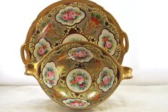 Handle Plate and Bowl Nippon Noritake Moriage Gold and Pink Roses  1920 - pinned by pin4etsy.com