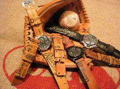 Turning old baseball gloves and vintage jeans into watch straps