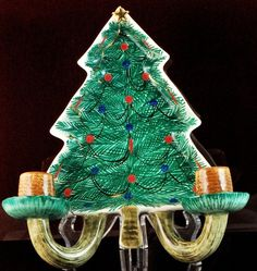 """Handpainted Italy Christmas Tree Wall Hanging Candle Votive  $20.00  Vintage Hand Painted in Italy  Wall Hanging  Christmas Tree with 2 Candle Votive  Signed FD RFB  Pat Pend 22/329  10 1/2 x 8"""""""