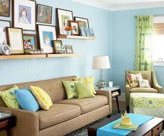 Love these colors - possibly for our basement. The blue!