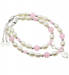 Mum & Me Silver Bracelet 'Pink Bubbles' Key to my Heart