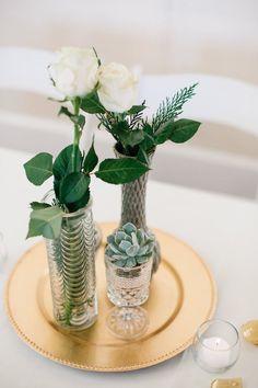 Arrange simple, mini bouquets + plate them for easy DIY centerpieces.
