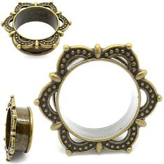 """Tribal Laced Ribbon Design made from solid antiqued brass for that truly """"vintage"""" look. These plugs are single flare and true to size. From sizes 10mm or 00 gauge all the way to one inch . Just like all our plugs and tunnels at soscene.com shipping is always free with a 30 day money back guarantee :) Shop now for your next set of unique and high quality plugs @ soscene.com  So Scene SO SCENE  BUY 2 GET 1 FREE ALWAYS"""