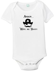 Cotton Onesie with print saying Arrgh... Wipe me Booty If you like this onesie check out our others, we have a selection.